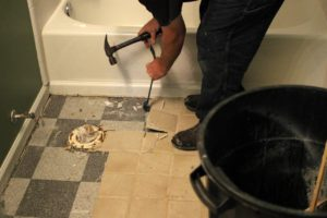 remove old kitchen floor ceramic tiles